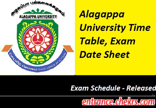 Alagappa University Time Table 2020