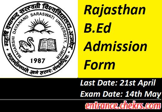 Rajasthan B.Ed Admission Form