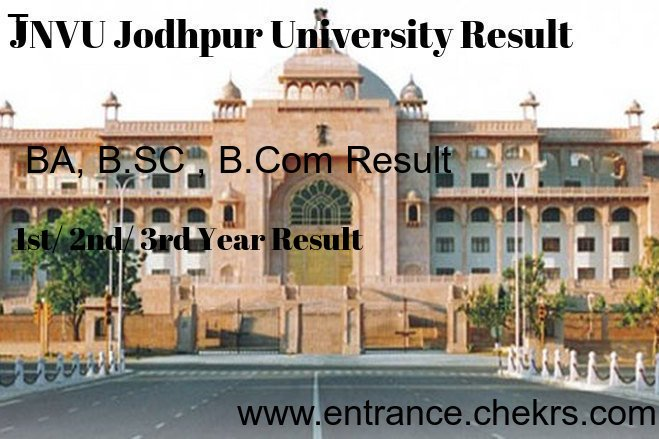 JNVU Result 2018, Jodhpur University BA BSC BCOM 1st 2nd 3rd Year Results