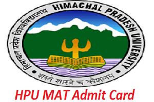 HPU MAT Admit Card 2020