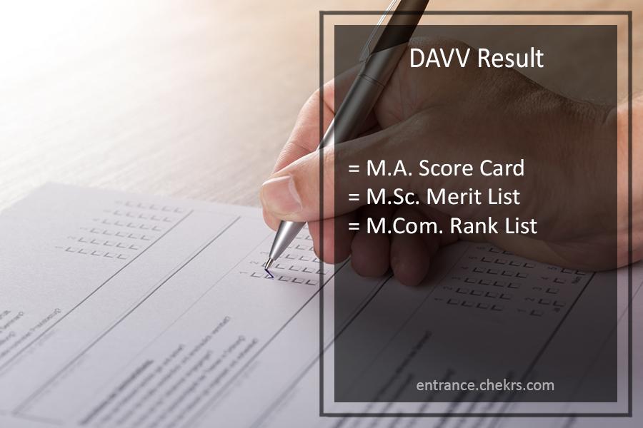 DAVV MA MSC MCOM Result - Devi Ahilya 2nd/ 4th Sem Results