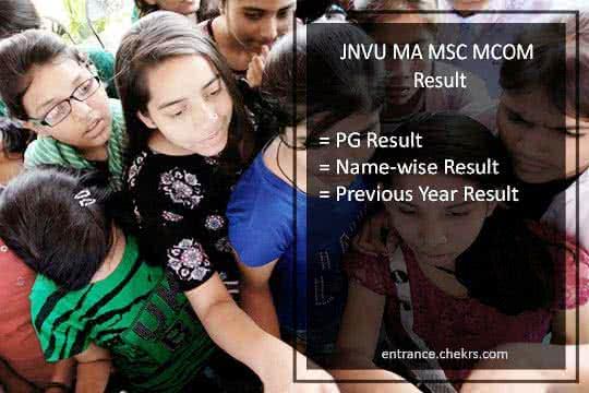 JNVU MA MSC MCOM Result 2019