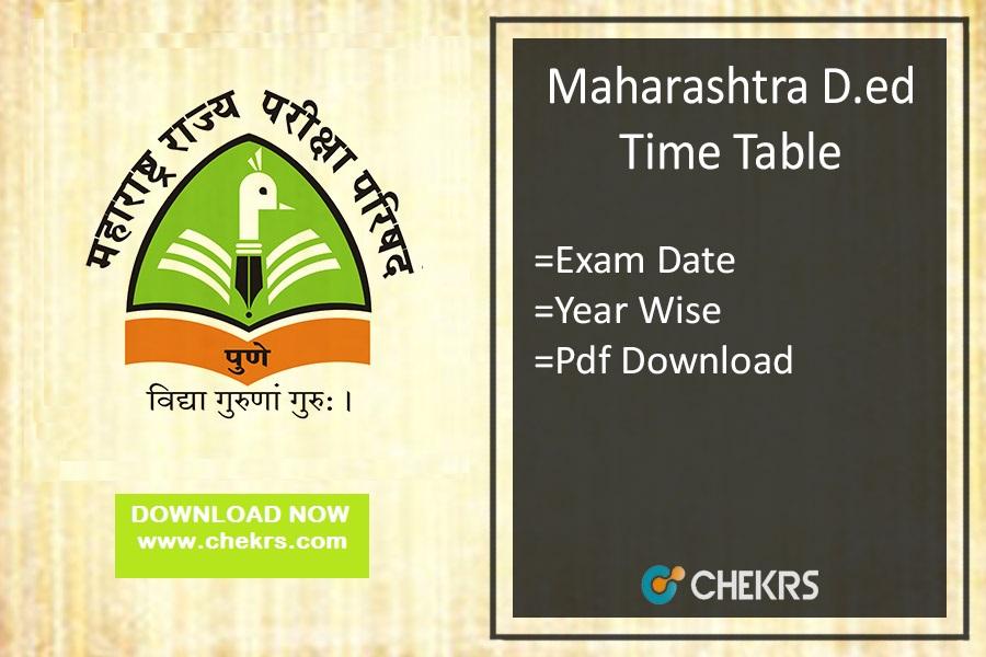 Maharashtra D.Ed Time Table 2020