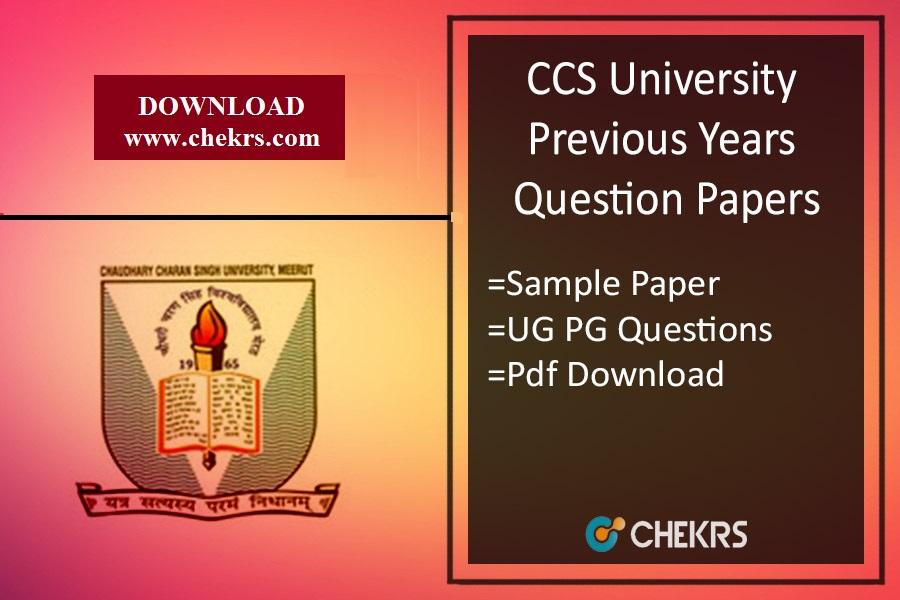 CCS University Previous Year Question Paper- Sample/ Model Paper