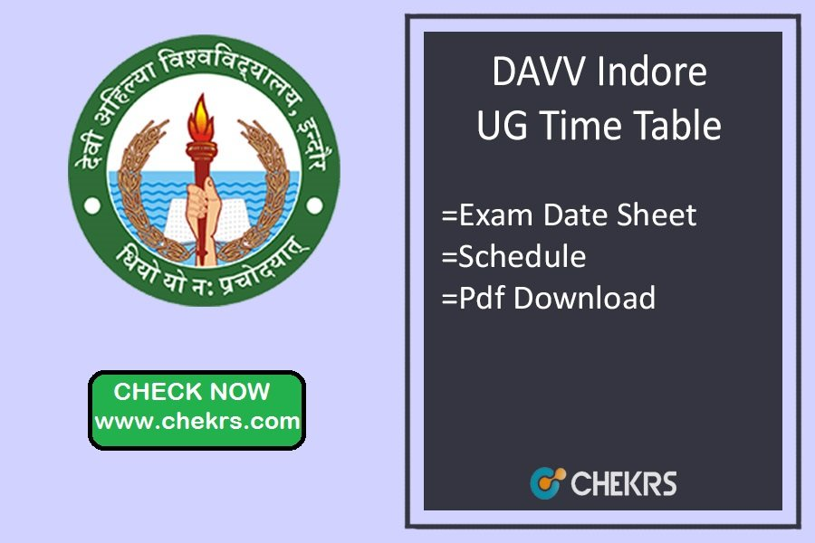DAVV Indore Time Table 2019 BA BSC BCOM BCA Exam Schedule
