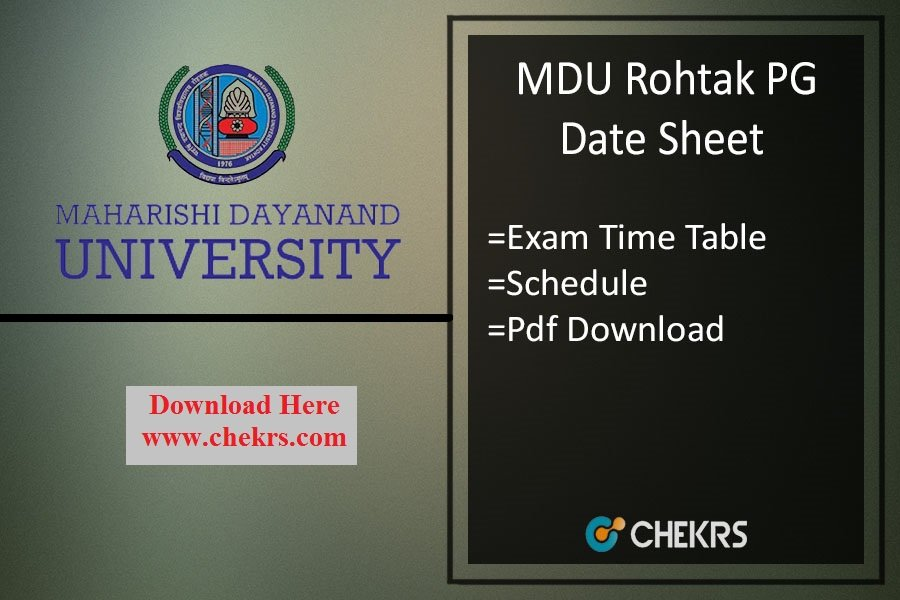 MDU PG Exam Date Sheet 2021