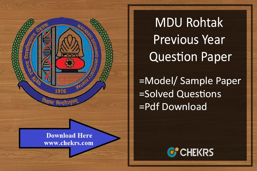 MDU Rohtak Previous Year Question Paper