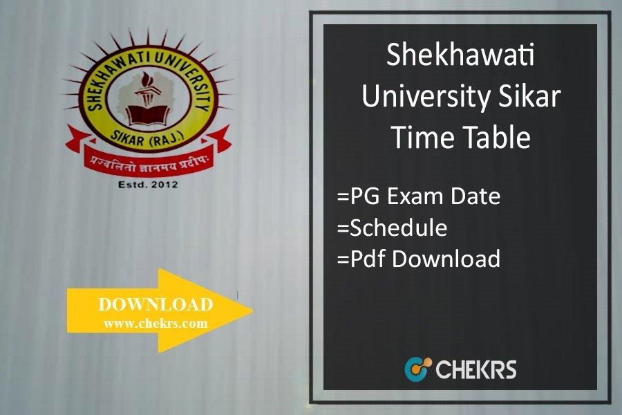 Shekhawati University PG Time Table 2020