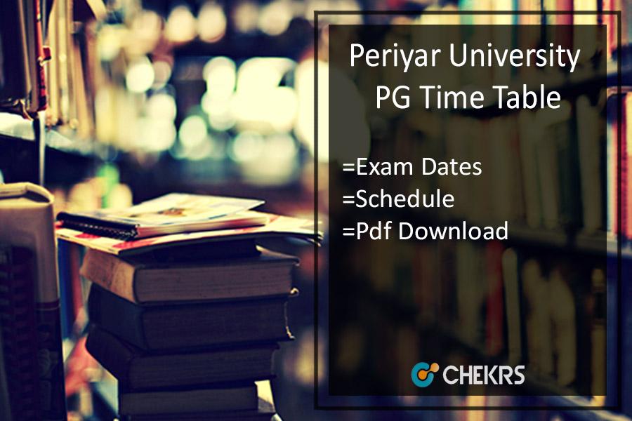 Periyar University PG Time Table 2020