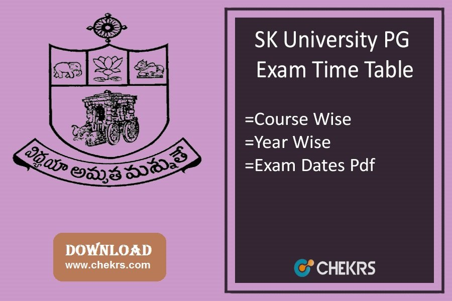 SK University PG Exam Time Table 2020