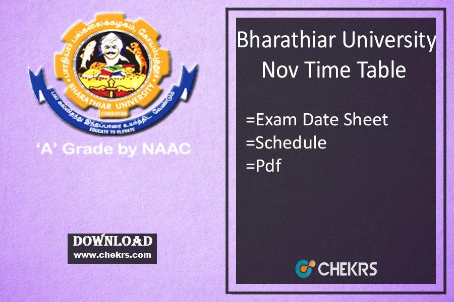 Bharathiar University Time Table 2021