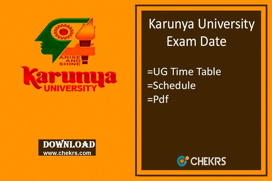 Karunya University Exam Date 2020