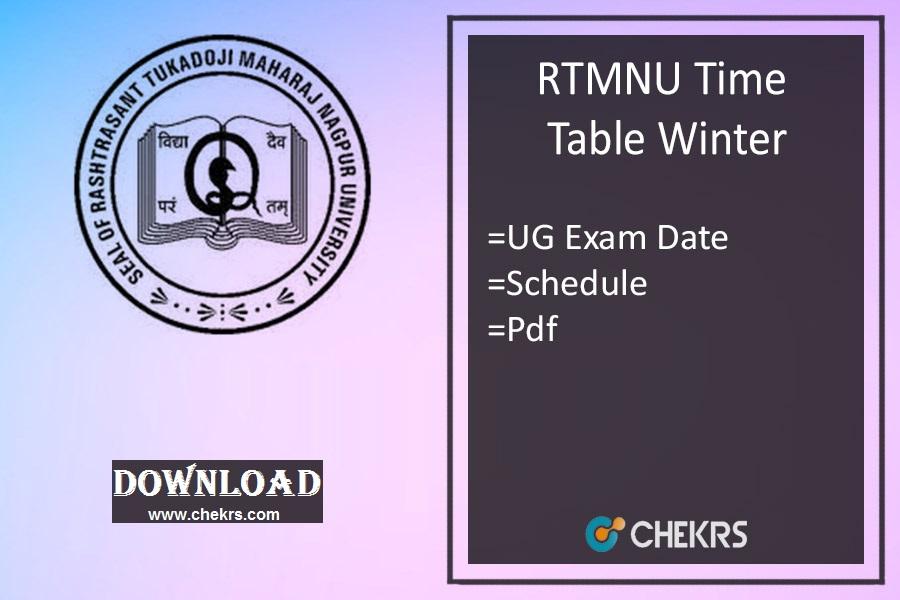 RTMNU Time Table winter 2021