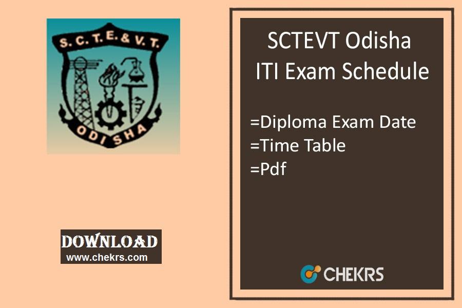 SCTEVT Odisha Exam Schedule 2019