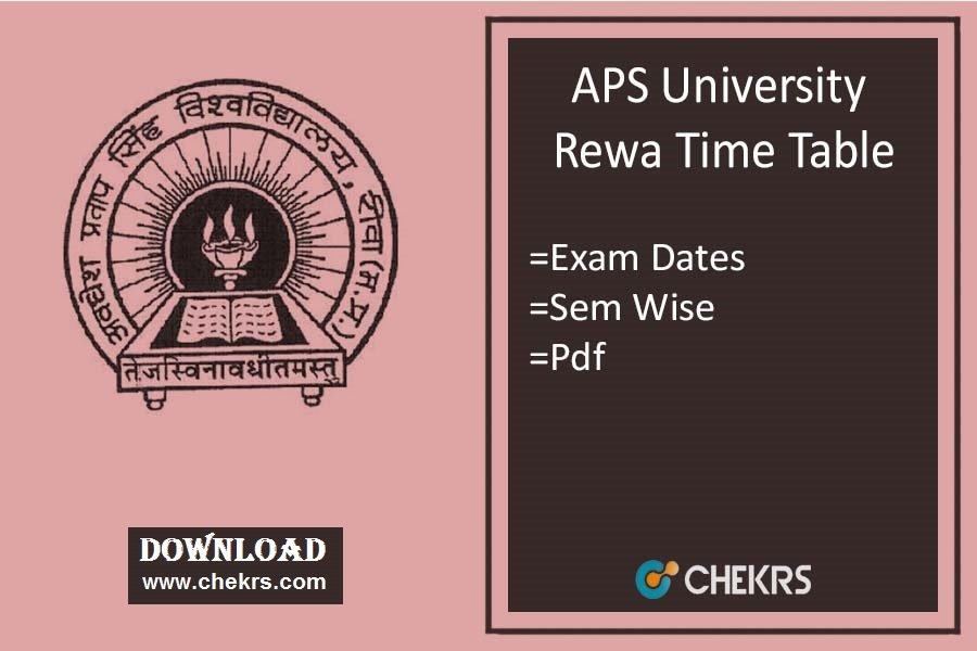 APSU Rewa Time Table 2021