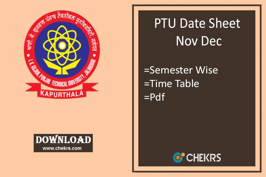 PTU Date Sheet 2019