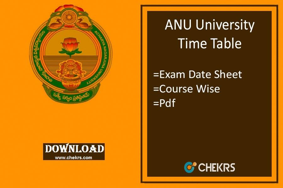 ANU Time Table 2019 {Released} Acharya Nagarjuna Univ Degree Exam Date