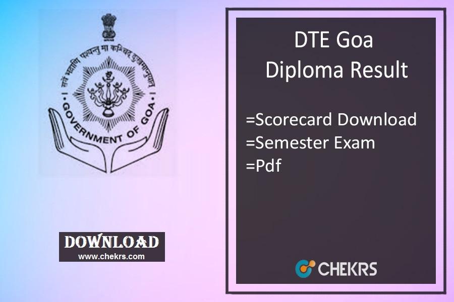 DTE Goa Diploma Result 2021