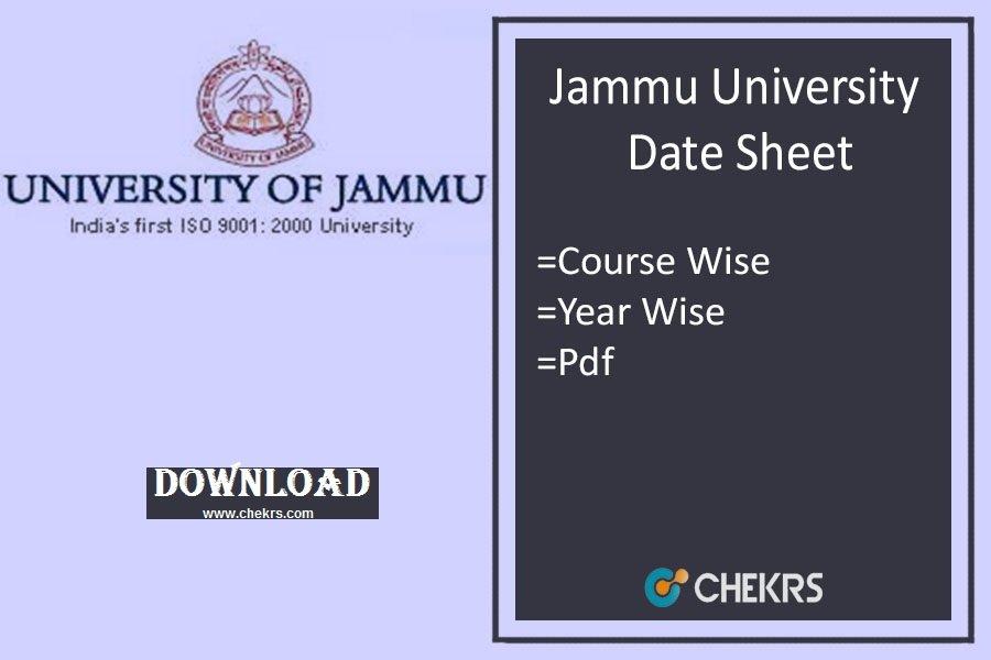 jammu university date sheet jammuuniversity.in Jammu University Exam Date Sheet