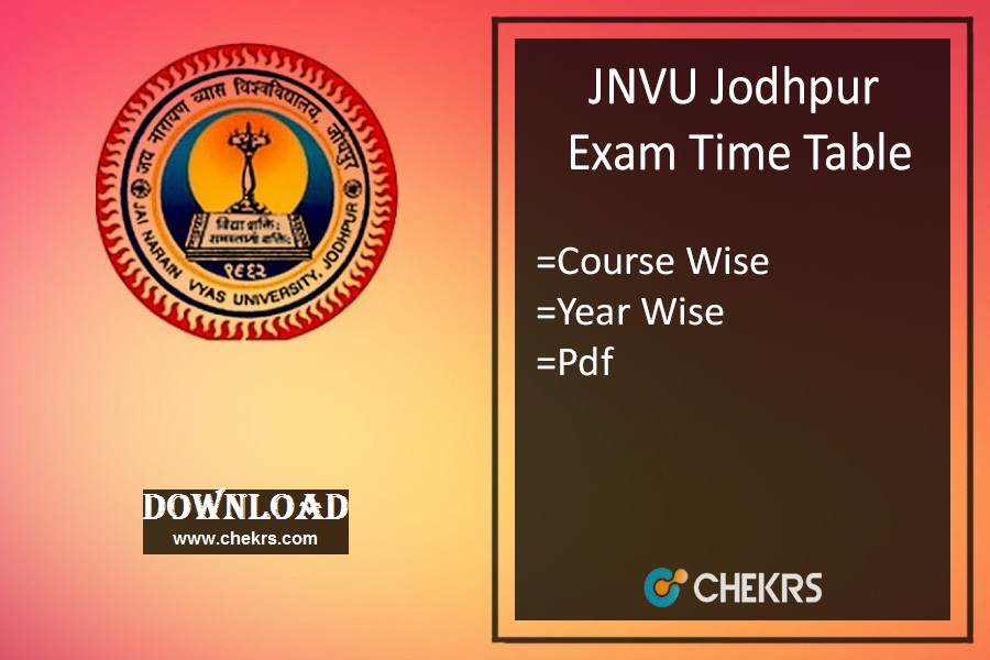 JNVU Time Table 2022