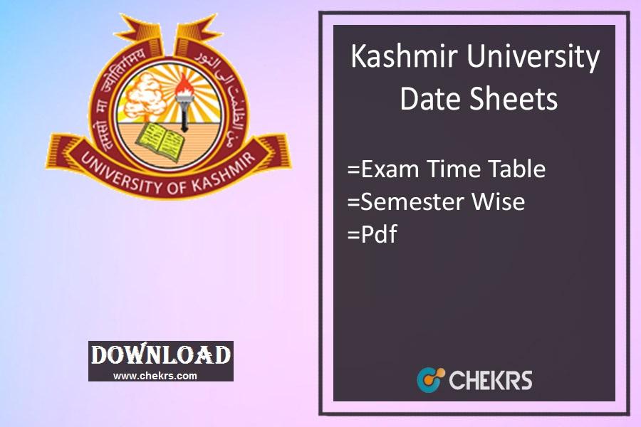 kashmir university date sheets 2021