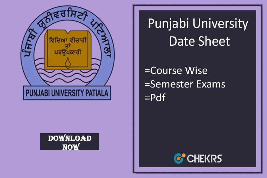 Punjabi University Date Sheet 2018 punjabiuniversity.ac.in