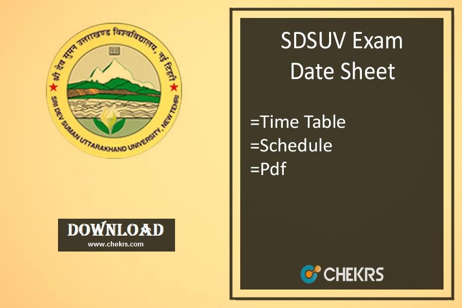 sdsuv exam date sheet 2021