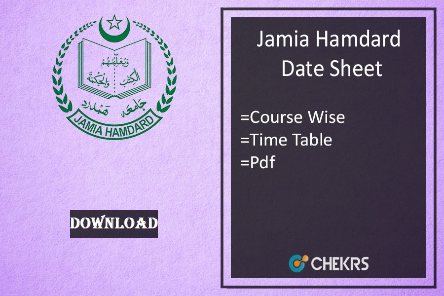 Jamia Hamdard Date Sheet 2019