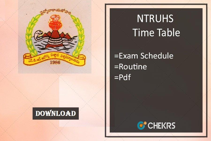 NTRUHS Time Table 2019 ntruhs.ap.nic.in