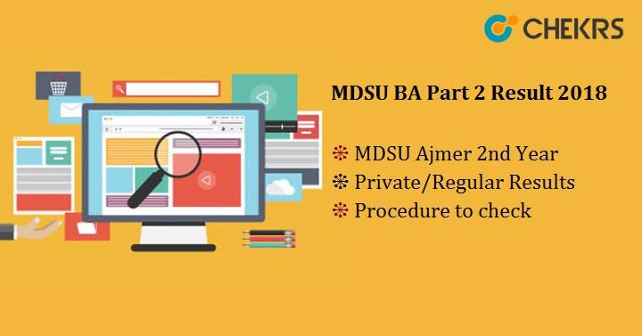 MDSU BA Part 2 Result 2019 : mdsu Ajmer 2nd Year, Private