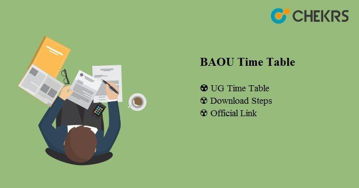 BAOU Time Table 2020