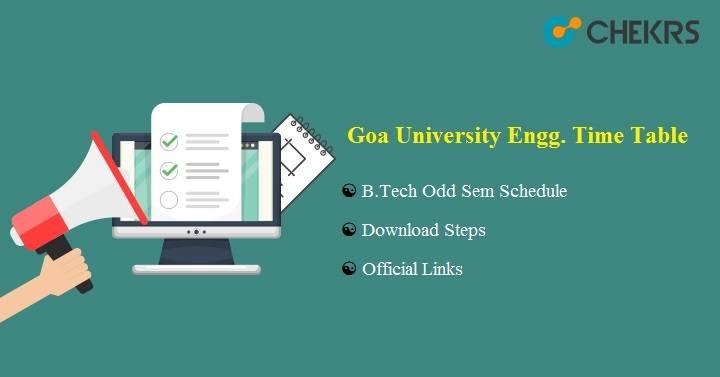 Goa University Engineering Time Table 2020