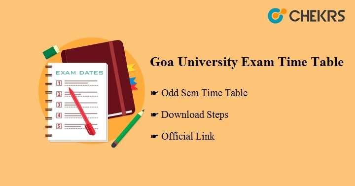 Goa University Exam Time Table 2020