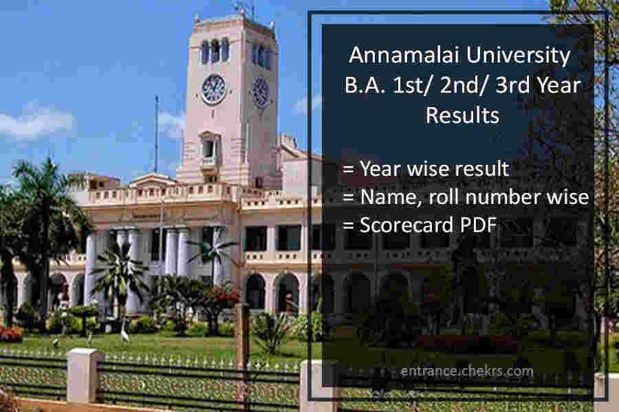 Annamalai University DDE Results- BA Result Download