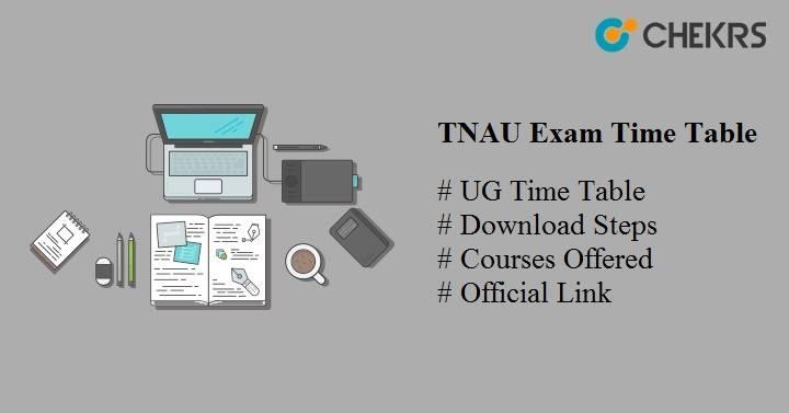 TNAU Exam Time Table