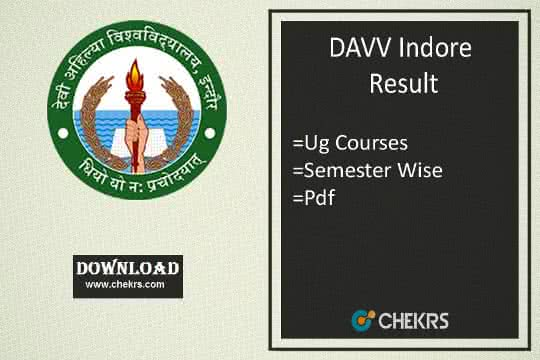DAVV Indore Result Download Semester Exam Results