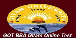 GOT BBA Gitam Online Test 2017