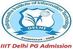 IIIT Delhi PG Admission 2017