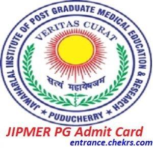 JIPMER PG Admit Card 2017