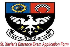 St. Xavier's Entrance Exam Application Form 2017