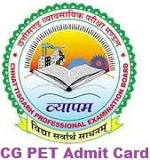 CG PET Admit Card 2017