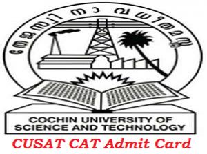 CUSAT CAT Admit Card 2017