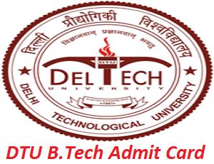 DTU B.Tech Admit Card 2017