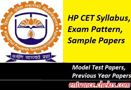 HP CET 2017 Syllabus, Exam pattern