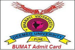 BUMAT Admit Card 2017