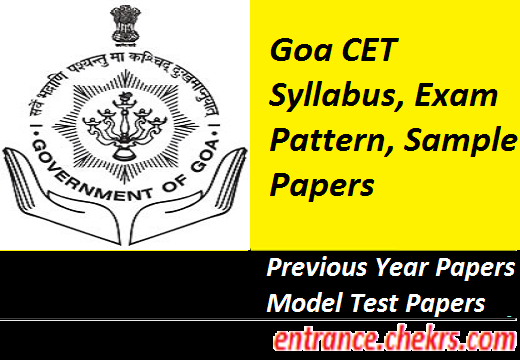 Goa CET Syllabus, Exam Pattern 2017
