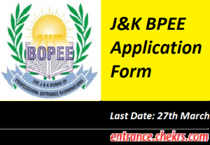 J&K BPEE Application Form 2017