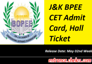 J&K BPEE CET Admit Card 2017