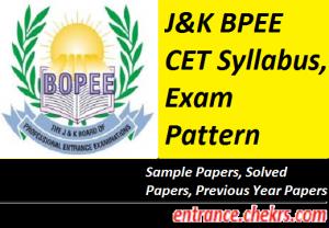 J&K BPEE CET Syllabus, Exam Pattern 2017