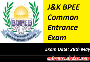 J&K BPEE Common Entrance Exam 2017